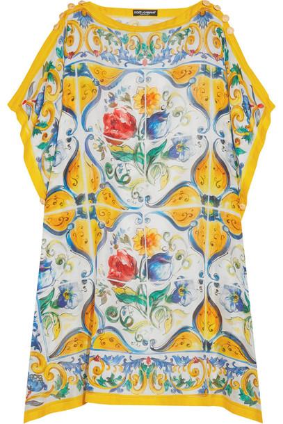 913aa16f Dolce & Gabbana Dolce & Gabbana Printed Cotton and Silk-Blend Kaftan in  blue / yellow