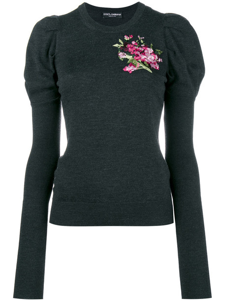 Dolce & Gabbana top knitted top embroidered women floral wool grey