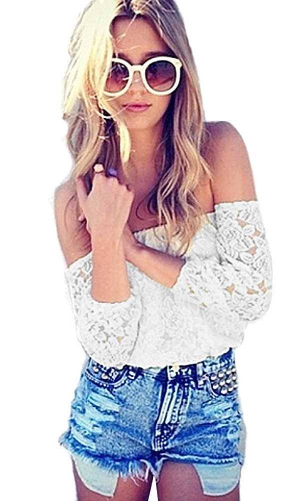 Boho white lace off the shoulder top – glamzelle