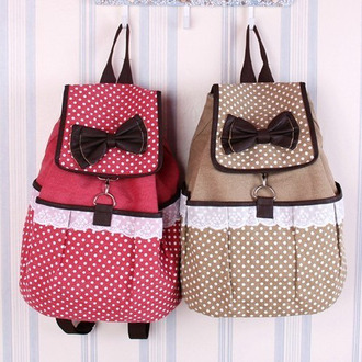 bag printed backpack backpack pink brown lace polka dots black bows