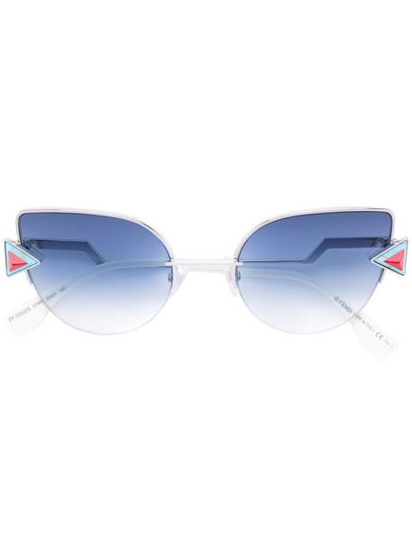 Fendi Eyewear rainbow metal women sunglasses grey metallic