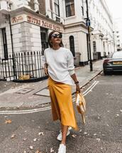 sweater,jumper,knit,midi skirt,white sneakers,handbag,black sunglasses