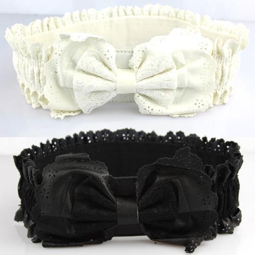 Women's lace elastic waist belt cronyism cummerbund bow elastic wide belt black-inBelts & Cummerbunds from Apparel & Accessories on Aliexpress.com