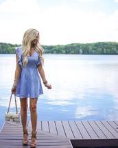 dress,tumblr,mini dress,blue dress,ruffle,ruffle dress,sandals,wedges,wedge sandals,bag,white bag,shoes