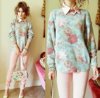 sweater pastel floral pink blue shirt roses girly