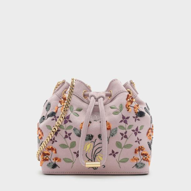 embellished drawstring bag pink