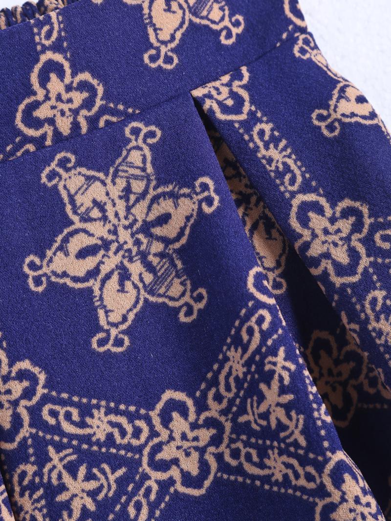 Purple Elastic Waist Floral Ruffle Skirt - Sheinside.com