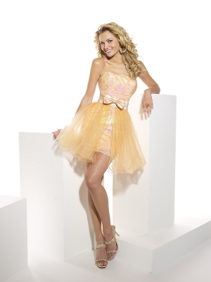 Buy Stunning Strapless Gold Organza Homecoming Dress with Bowknot under 200-SinoAnt.com