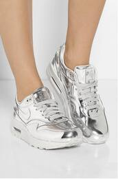 shoes,nike,silver,sneakers,atropina,air max,metallic,metallic shoes,grey,silver air max,silver air force high tops,nike air force,nike running shoes,trendy,cool,black,tumblr shirt,tumblr,fashion,silver shoes,silver sneakers,dope wishlist,silver nike,jeans,nike air,siver,help !,jumpsuit