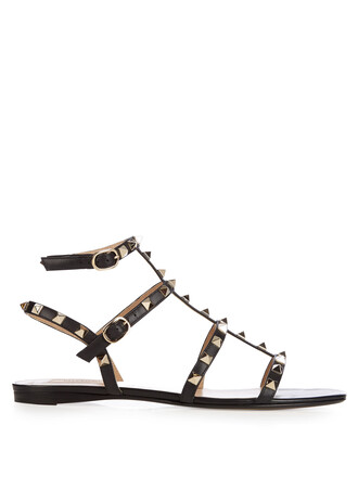 sandals flat sandals leather black shoes