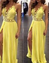 dress,yellow,cute,summet,maxi,long,straps,lace,summer,see through