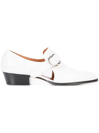 cut-out women loafers leather white shoes