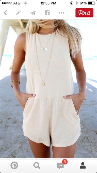 jumpsuit romper dress fashion summer outfits cream basic style summer bege beige pinterest outfit white romper ivory simple romper white nude romper