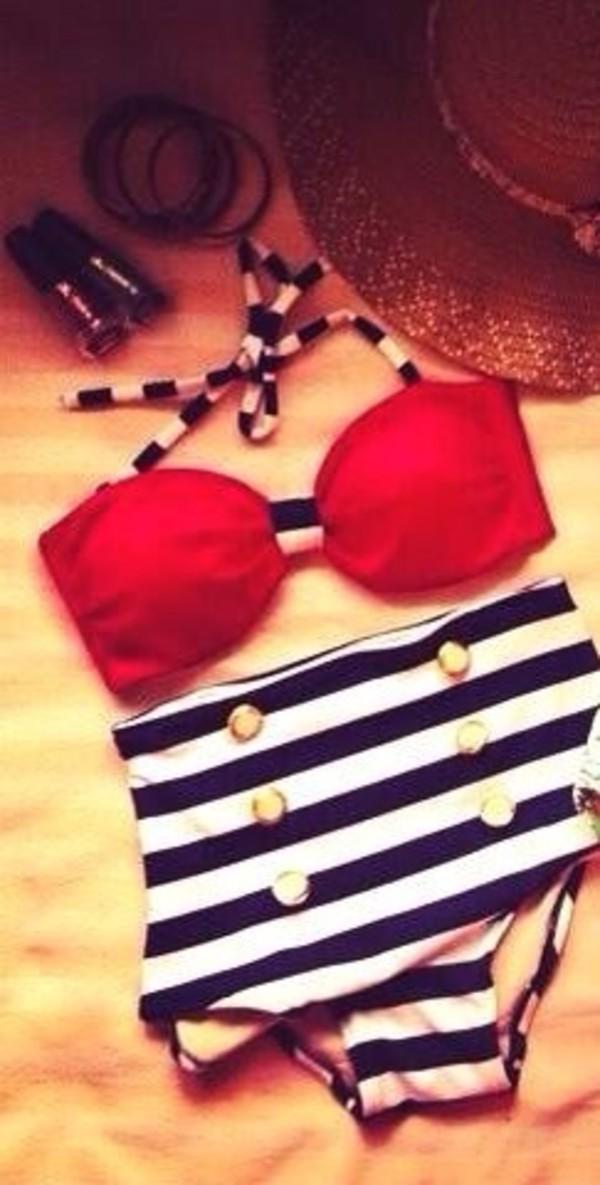 swimwear red stripes bikini high waisted bikini