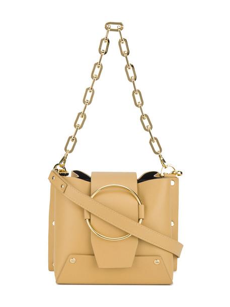 women bag bucket bag leather nude yellow
