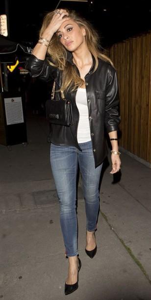 shirt leather nicole scherzinger jeans pumps