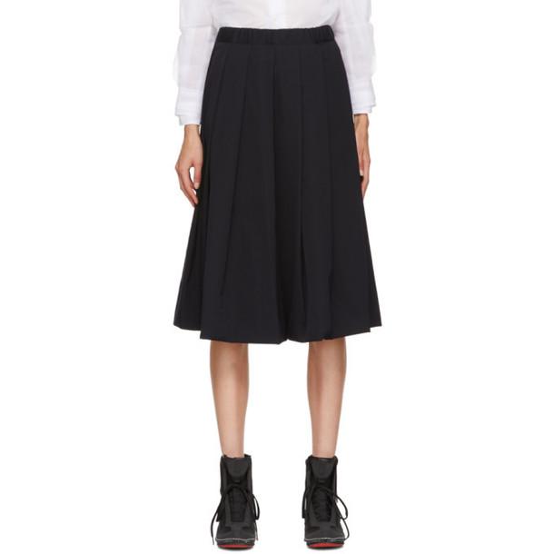 Comme des Garçons Navy Box Pleat Skirt