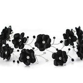 hair accessory,black and white,flower headband,graduation