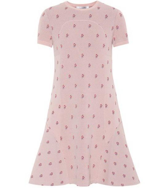 Valentino Floral jacquard-knit minidress in pink