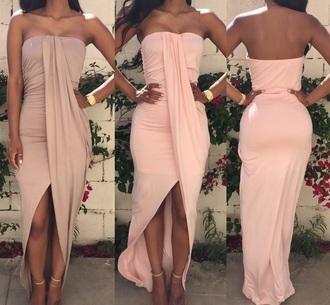 dress nude dress summer dress style pink dress