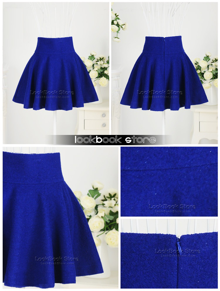 183a7806a Retro Women High Waisted Flippy Flared Concealed Zip Royal Blue Mini Short  Skirt | eBay