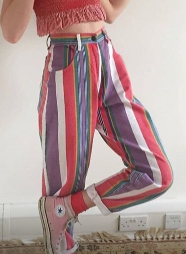 Jeans High Waisted Vertical Stripes Vintage Colorful