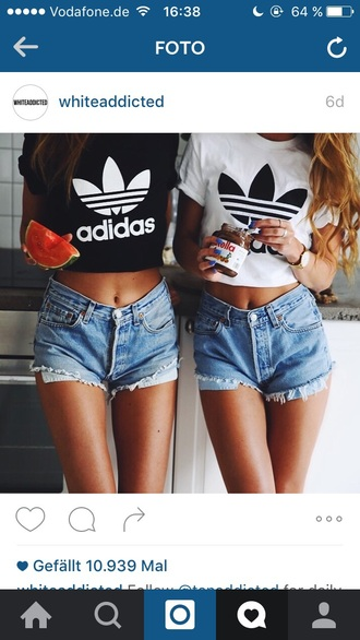 shirt adidas crop top crop tops adidas sportswear black and white partner shirts hip hop style fashion bff bf bf shirts
