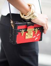 bag,tumblr,boxed bag,red bag,pants,black pants,bracelets,gold bracelet,jewels,jewelry,gold jewelry,streetstyle
