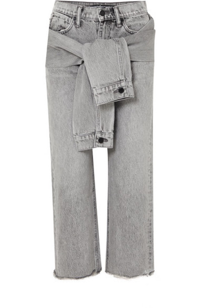 Alexander Wang - Cropped Distressed High-rise Straight-leg Jeans - Light gray