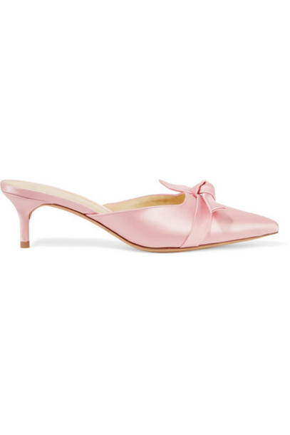 Alexandre Birman bow pastel daisy embellished mules pink satin pastel pink shoes