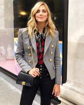 jacket,military style,button up,leather pants,checkered shirt,earrings