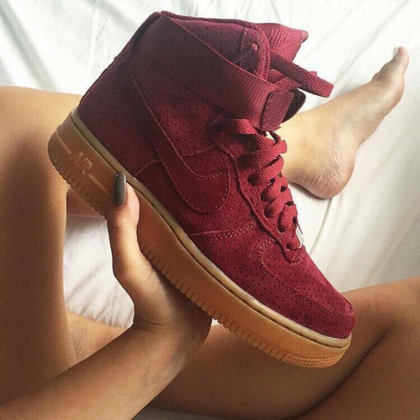 shoes, nike, red, nike air, nike air force, brown, high top