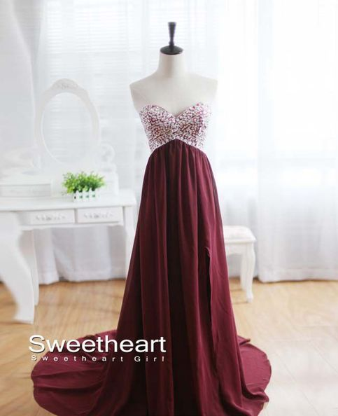 Line chiffon long prom dresses, evening dresses, formal dresses