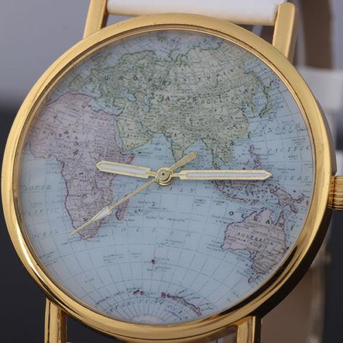 Fashion Unisex World Map Style Round Quartz Movement Wrist Watch Alloy New Gift | eBay