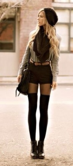 shorts black black shorts high knee socks boots