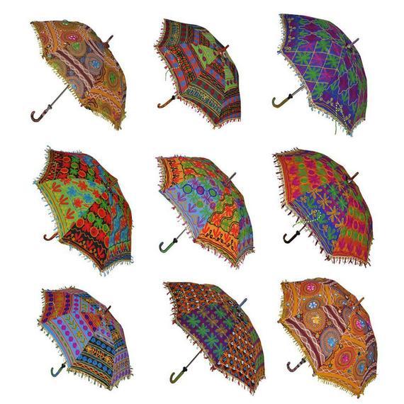 100 pcs Wholesale Lot Indian Handmade Umbrellas Vintage Patchwork Sun Protection Umbrella Parasol Antique Women Umbrella Wedding Decor