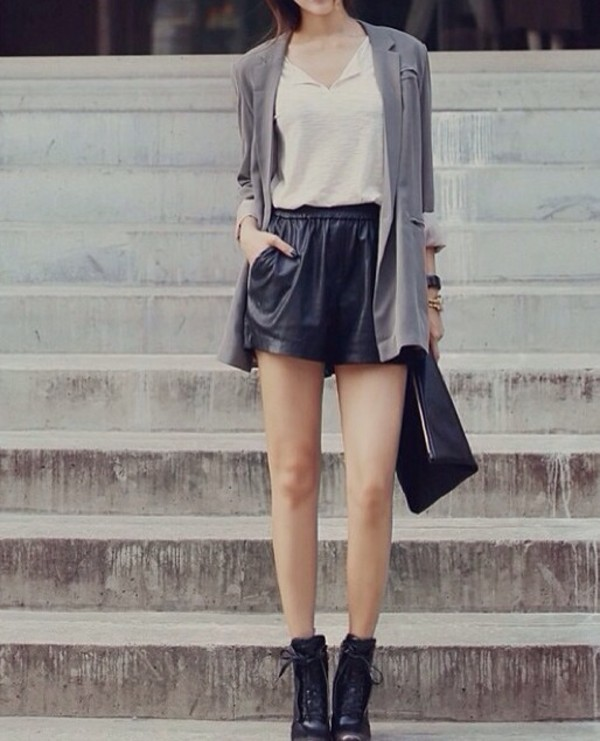 shorts korean fashion leather asian