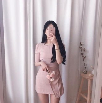 dress pink dress korean fashion nude nude dress long sleeve dress 2016 help need this dress boho dress cute dress short dress