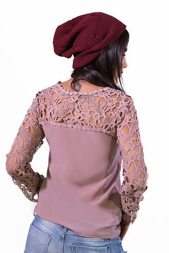 sweater top pink fashion style long sleeves trendy girly crochet freevibrationz