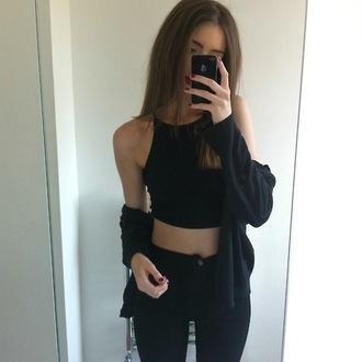 jeans denim cardigan sweater crop tops black black jeans
