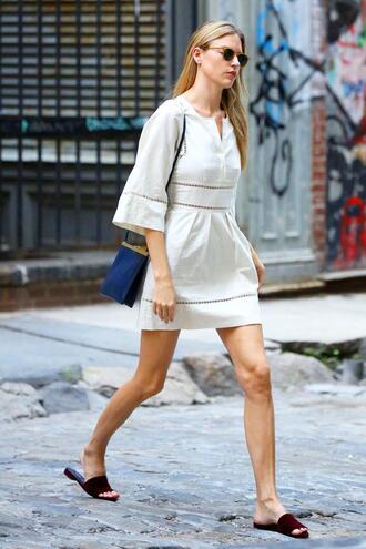 dress white white dress model off-duty martha hunt streetwear mini dress