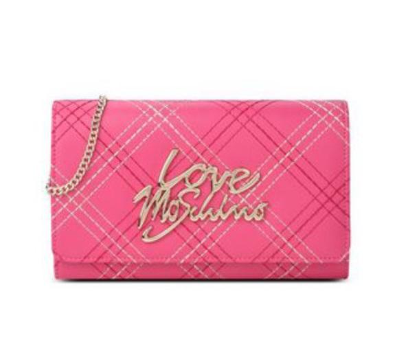 belt bag designer bag pretty plaid pattern pink fuschia pink fuscia shoulder bag mini cute girly moschino hot pink bag