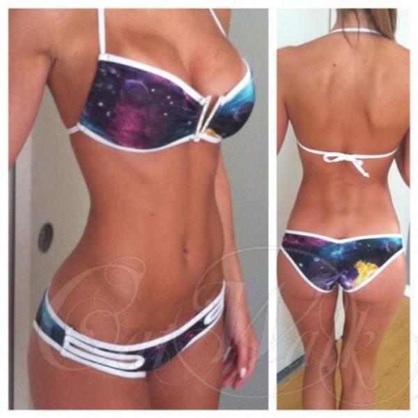 swimwear galaxy print white cool thin halter bikini galaxy print universe print bikini