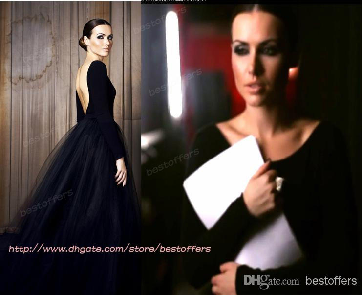 Buy gothic wedding dress with long sleeves bateau neck backless a line tulle/net skirt custom made black bridal gowns, $123.93