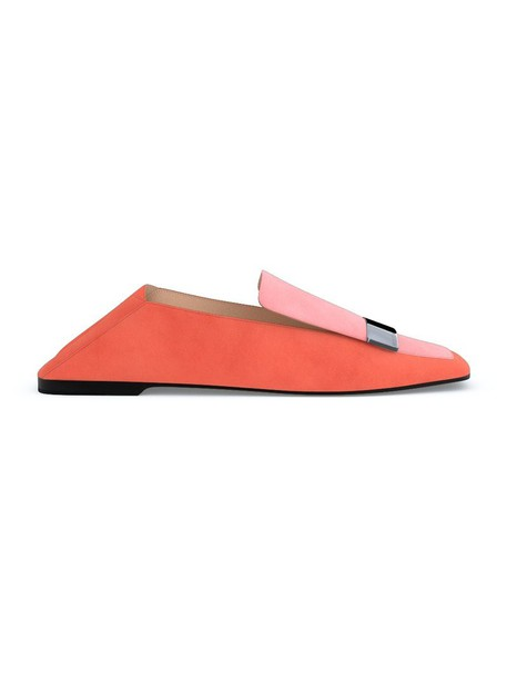 Sergio Rossi women loafers leather suede yellow orange shoes