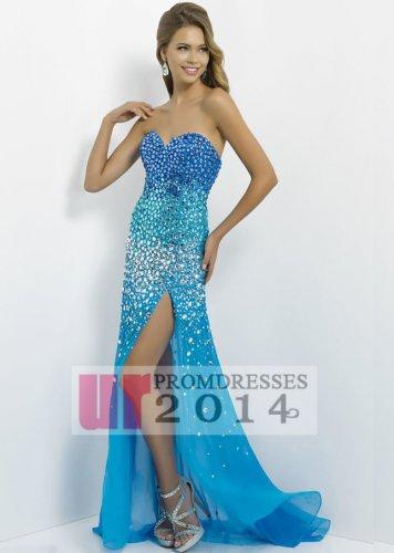 Shinning ombre rhinestone sequined long blue trailing dresses [b