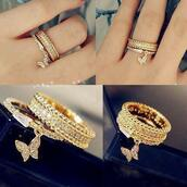 jewels,diamonds,cute,beautiful,ring,gold,chain,silver,loop,clothers,diamants,cute outfits,butterfly,gold ring,pretty,girly,Juwels,rings and tings,butterfly ring