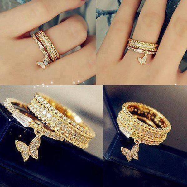 Jewels diamonds cute beautiful ring gold chain silver loop