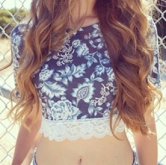 t-shirt blue top crop tops print crop girl white pretty shirt blue shirt floral lace cute