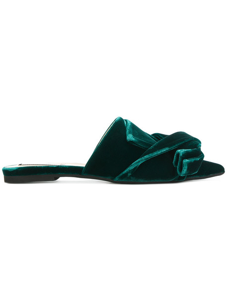 No21 women mules leather velvet green shoes